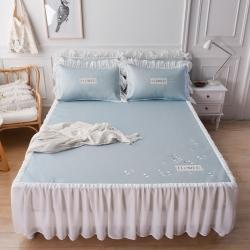 蓝邻 2021新款小清新刺绣+雪纺床裙凉席三件套 多瑙蓝