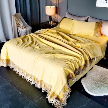 安朵家居2020新款宫廷风水洗真丝韩版夏被四件套 柠檬黄