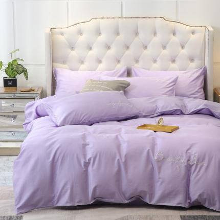丽阳全棉60s长绒棉四件套纯棉刺绣纯色三件套北欧情缘-典雅紫