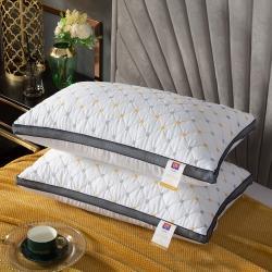 (总)浩宇家纺直播亲肤棉羽丝绒枕芯立体网边满天星三线格枕头