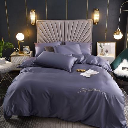 新款简约北欧风纯棉13070纯色刺绣四件套床上用品 深紫