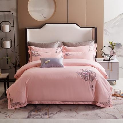 平头哥 2020新款60长绒棉中式四件套 粉色