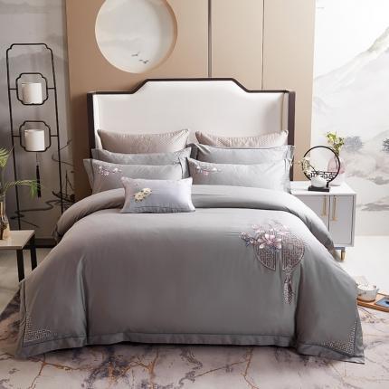 平头哥 2020新款60长绒棉中式四件套 灰色