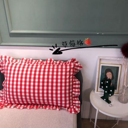 吾欢心 2021新款格子系单枕套48*74cm一只 草莓格