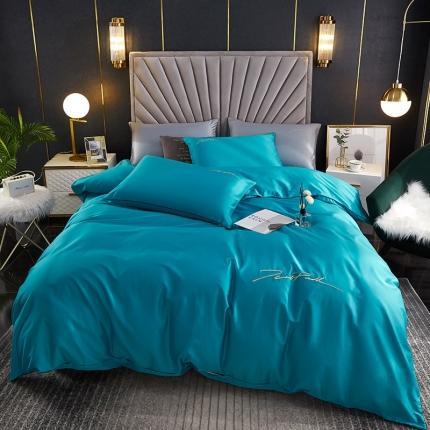 新款简约北欧风纯棉13070纯色刺绣四件套床上用品