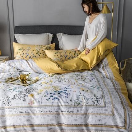 简一色 2020新款60S长绒棉数码印花四件套 恋暮阳光 黄