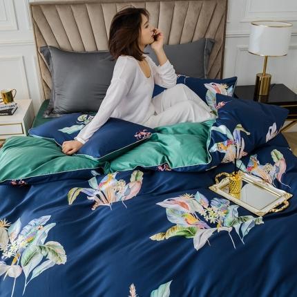 简一色 2020新款60S长绒棉数码印花四件套 醉花都 蓝