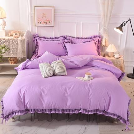 芭比蔓 2020新款韩版蕾丝磨毛床裙四件套 梦境-魅紫