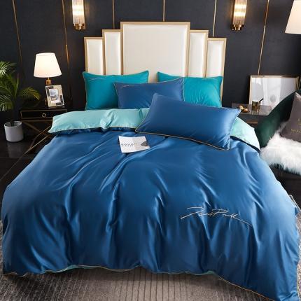 新款简约北欧风纯棉13070纯色刺绣四件套床上用品 海蓝浅蓝