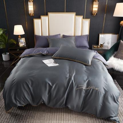 新款简约北欧风纯棉13070纯色刺绣四件套床上用品 深灰拼紫