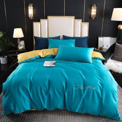 新款简约北欧风纯棉13070纯色刺绣四件套床上用品 深蓝姜黄