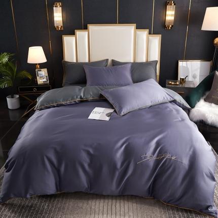 新款简约北欧风纯棉13070纯色刺绣四件套床上用品 深紫拼灰