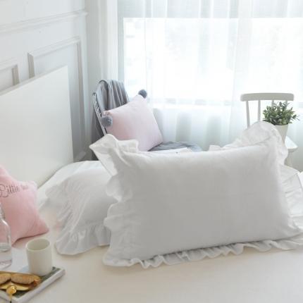 (总)云思蓝 2020新款色织全棉水洗棉荷叶边花边枕套