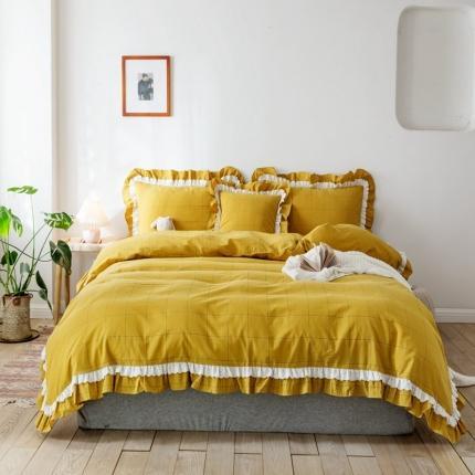 云思蓝 2020新款色织大格双层边四件套  姜黄色