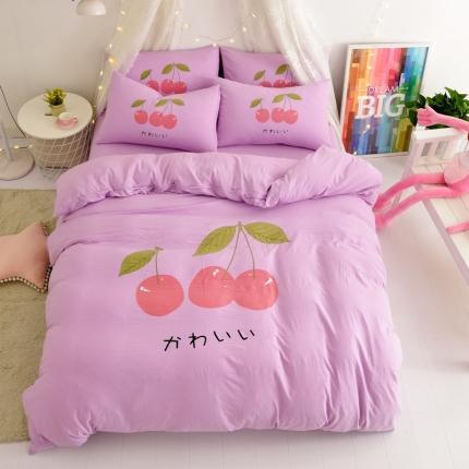 卡斯诺 2020新款水洗棉大版四件套 樱桃-紫色