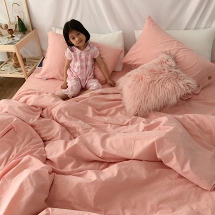安朵家居 2020新款纯棉色织水洗棉纽扣工艺款四件套粉色