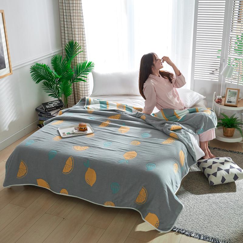 专利大版花全棉六层纱布毛巾被夏被盖毯子空调被冰橙