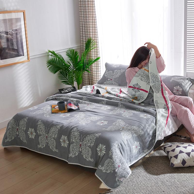 专利大版花全棉六层纱布毛巾被夏被盖毯子空调被 蝶恋花
