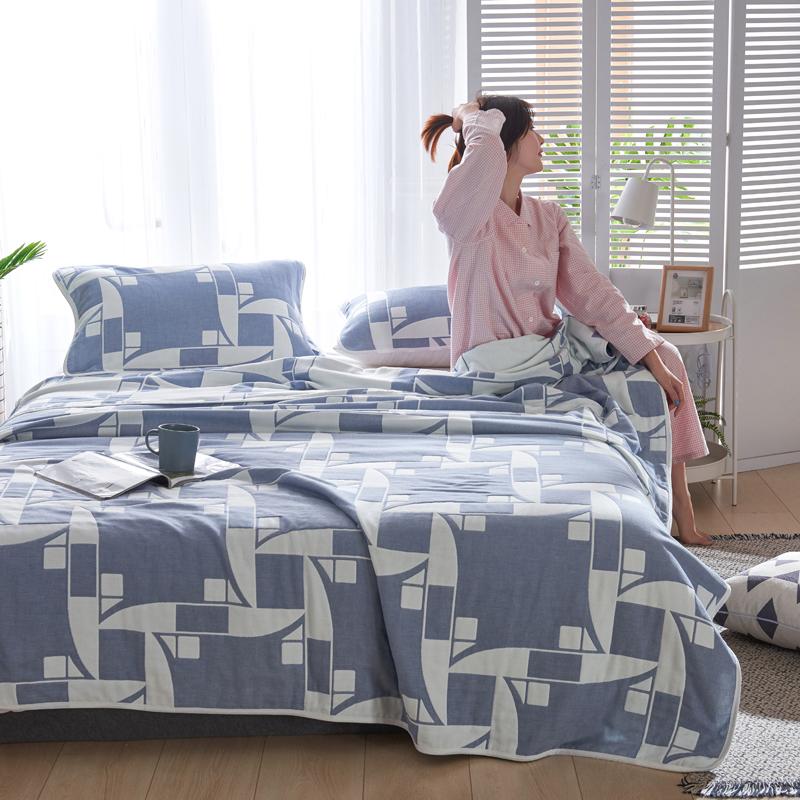 专利大版花全棉六层纱布毛巾被夏被盖毯子空调被风车