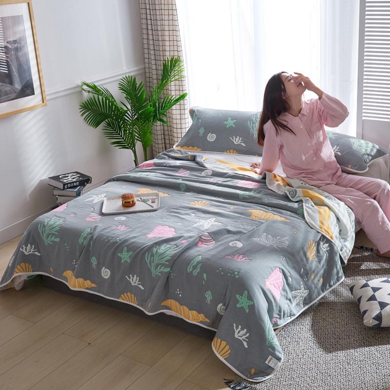 专利大版花全棉六层纱布毛巾被夏被盖毯子空调被海底世界