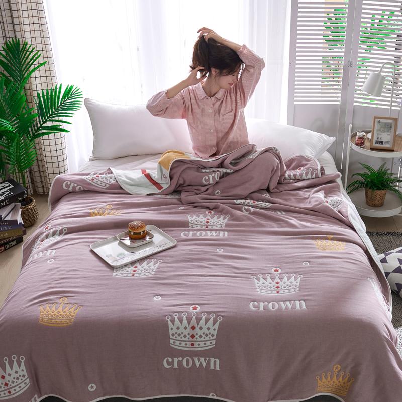 专利大版花全棉六层纱布毛巾被夏被盖毯子空调被皇冠