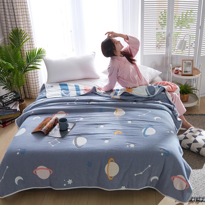 专利大版花全棉六层纱布毛巾被夏被盖毯子空调被流浪地球