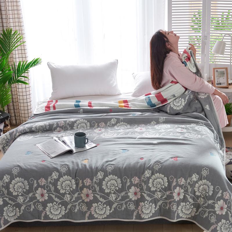 专利大版花全棉六层纱布毛巾被夏被盖毯子空调被蔓藤