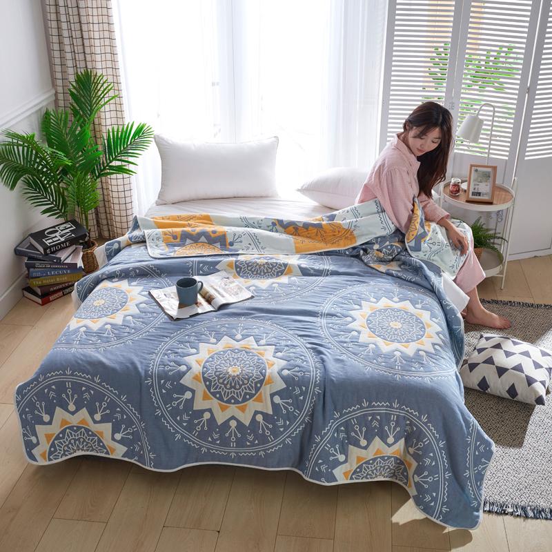 专利大版花全棉六层纱布毛巾被夏被盖毯子空调被太阳神