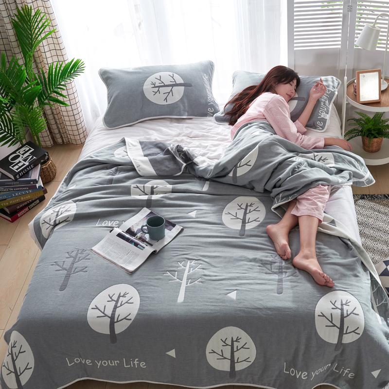 专利大版花全棉六层纱布毛巾被夏被盖毯子空调被幸福树
