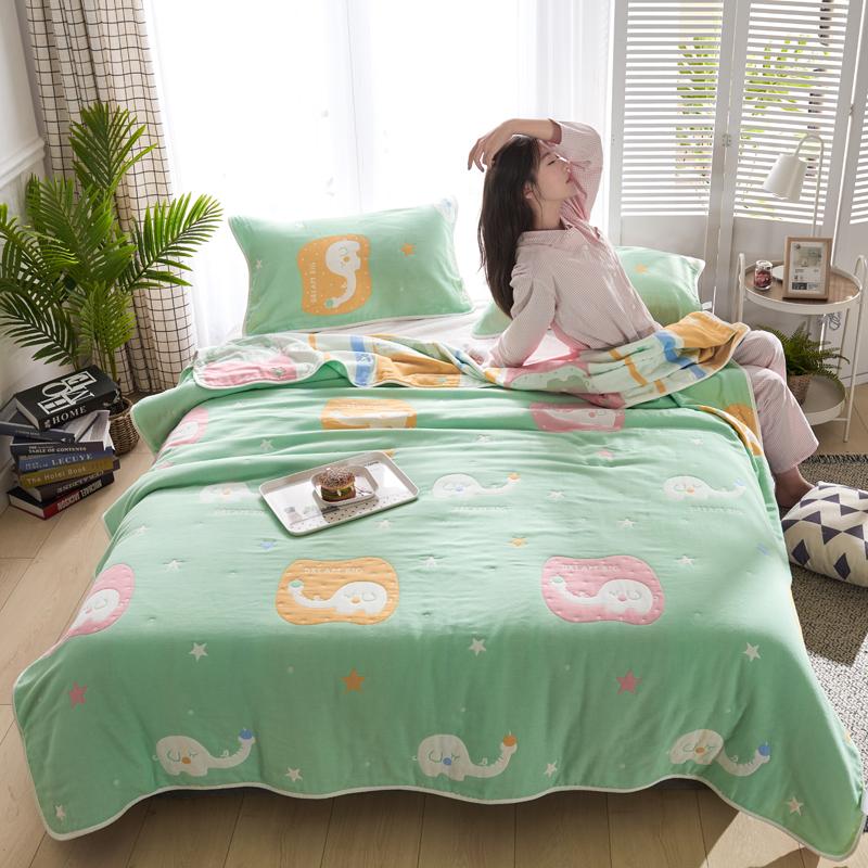 专利大版花全棉六层纱布毛巾被夏被盖毯子空调被长鼻小象