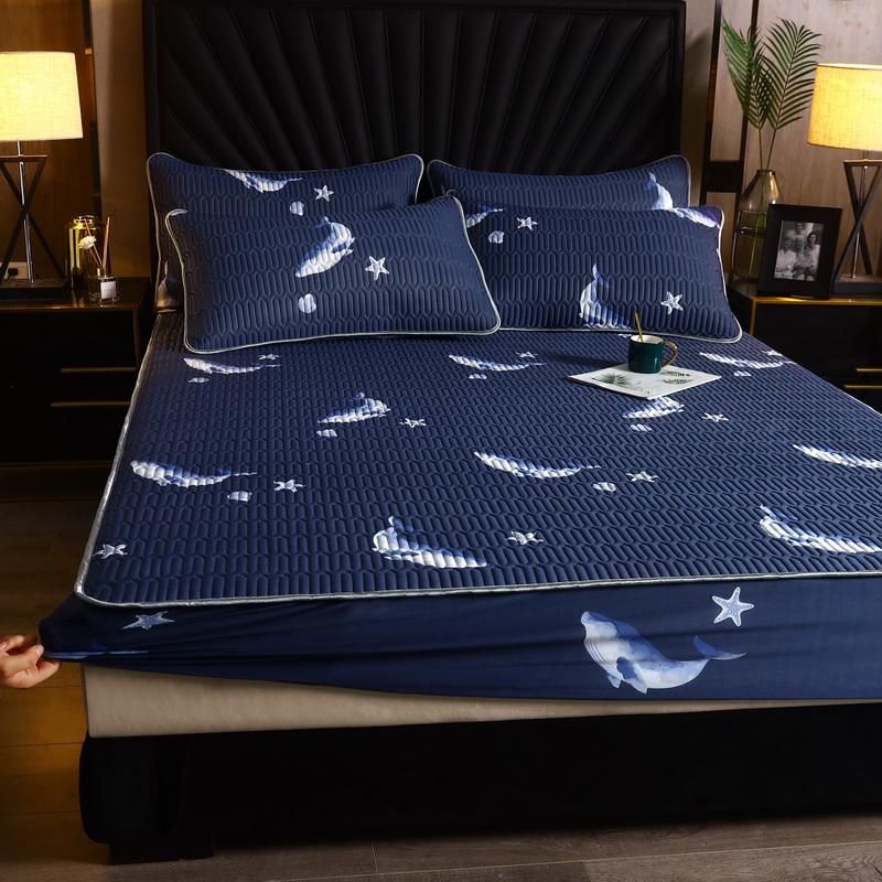 爱思凯2020款凉感丝乳胶凉席床笠三件套乳胶床笠 蓝鲸鱼