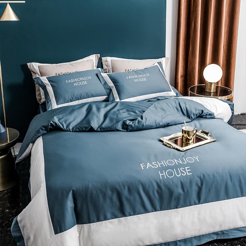 不二先生 2020新款秘鲁匹马棉120支酒店风四件套 靛青色