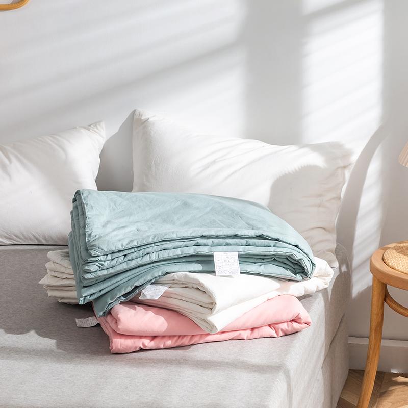 日式无印全棉100%桑蚕丝夏被良品纯色空调被夏凉被简约