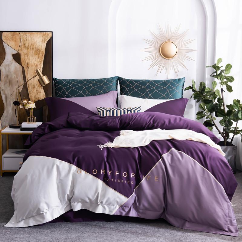 格鲁瑞 2020新款全棉60S三拼款四件套 魅惑紫