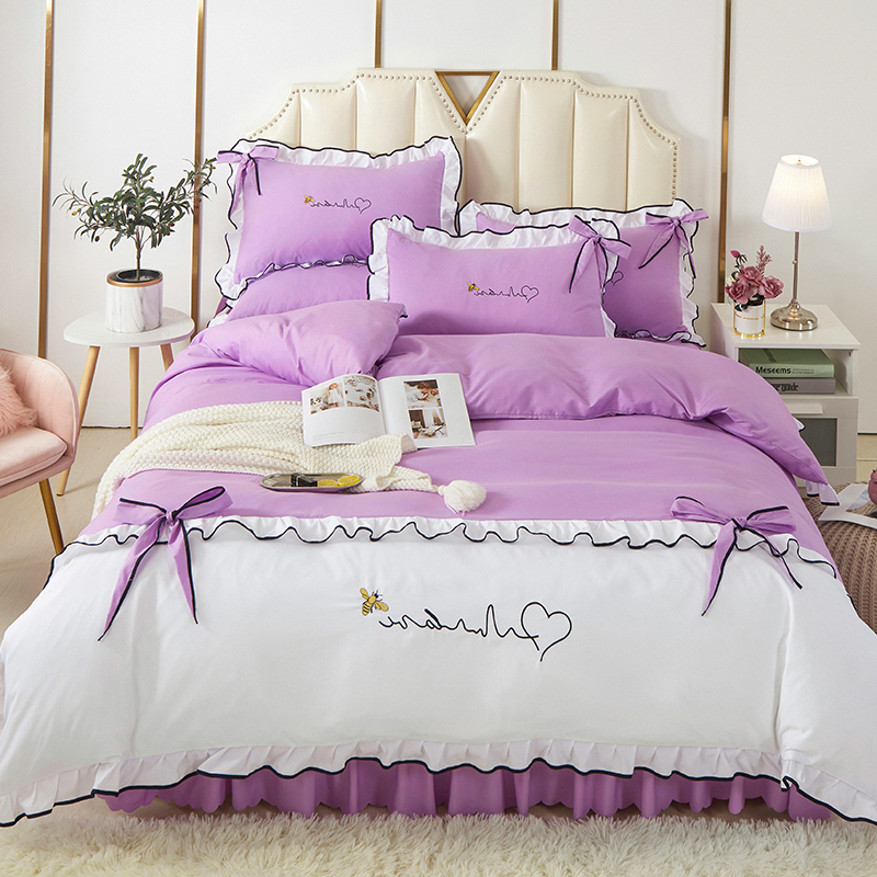 2020韩版床裙四件套 暮语家纺群号455713689 粉紫