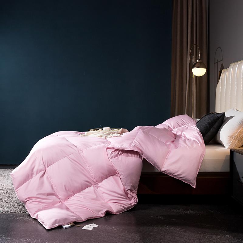 呆头鹅2020新款80支柔赛丝标准款白鹅绒羽绒被系列 粉色