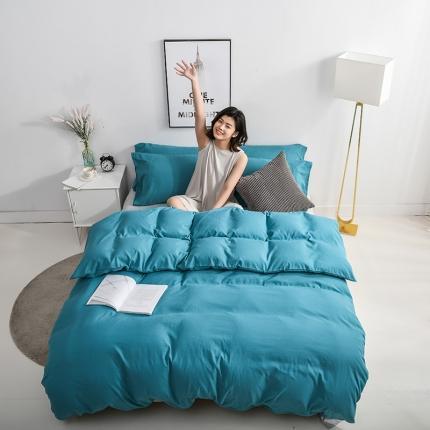 美真 纯色双拼加厚水洗棉磨毛四件套床上用品长绒棉素色宝蓝浅灰
