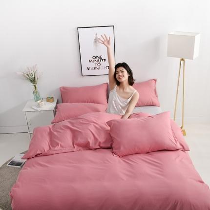 美真 纯色双拼加厚水洗棉磨毛四件套床上用品长绒棉素色豆沙浅灰