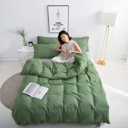 美真 纯色双拼加厚水洗棉磨毛四件套床上用品长绒棉素色军绿浅灰