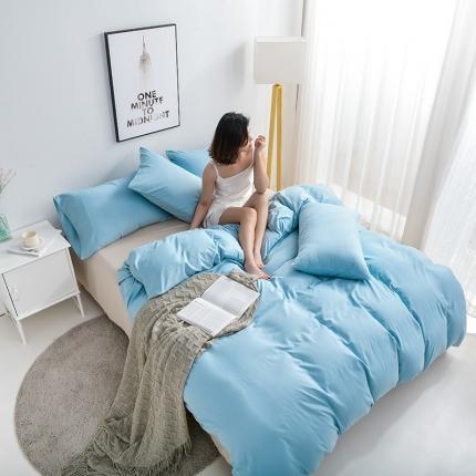 美真 纯色双拼加厚水洗棉磨毛四件套床上用品长绒棉素色浅蓝驼色
