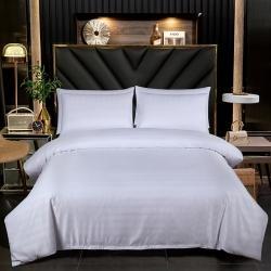 60s贡缎四件套床上用品白色酒店床单民宿被套五星级宾馆被子