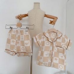 麦吻 天然有机彩棉提花纱布儿童居家服(短袖)