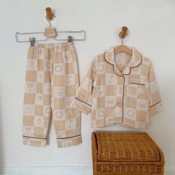 麦吻 天然有机彩棉提花纱布儿童居家服(长袖)