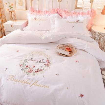迪欧芙 2020新款全棉花蔓系列床裙款四件套韩版四件套 白色