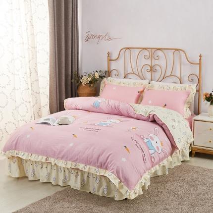 爱妮玖玖 套件9:全棉床裙式床单四件套普款