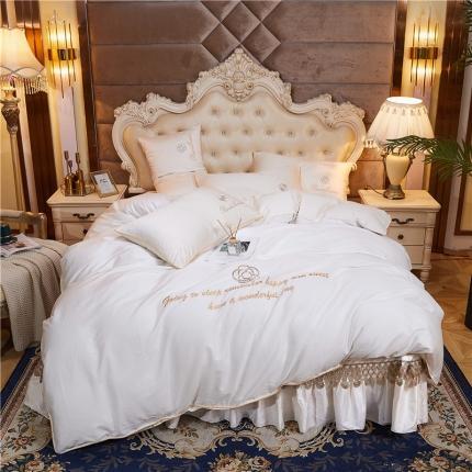 菊上 2020新款60支长绒棉山茶花系列床盖款四件套 米白色