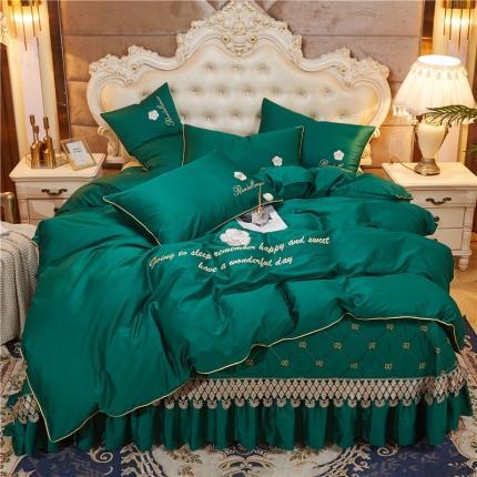 菊上 2020新款60支长绒棉山茶花系列床盖款四件套 墨绿
