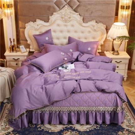 菊上 2020新款60支长绒棉山茶花系列床盖款四件套 香芋紫