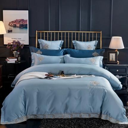 喜洋洋新款100S长绒棉高端轻奢赛利娅四件套维斯之恋-蓝灰
