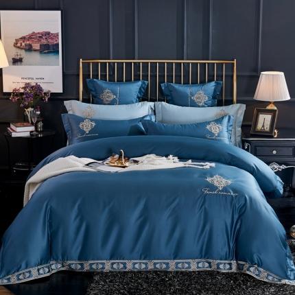 喜洋洋新款100S长绒棉高端轻奢赛利娅四件套维斯之恋-流蓝